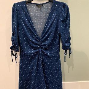 Blue polka dot tea Topshop dress.
